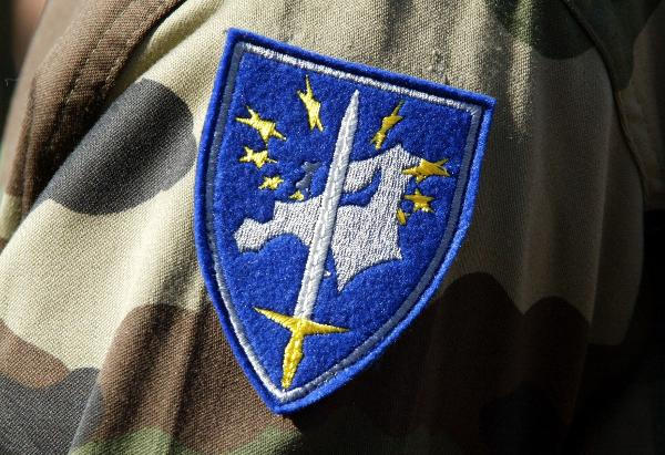 The actual insignia of the real-world Eurocorps.
